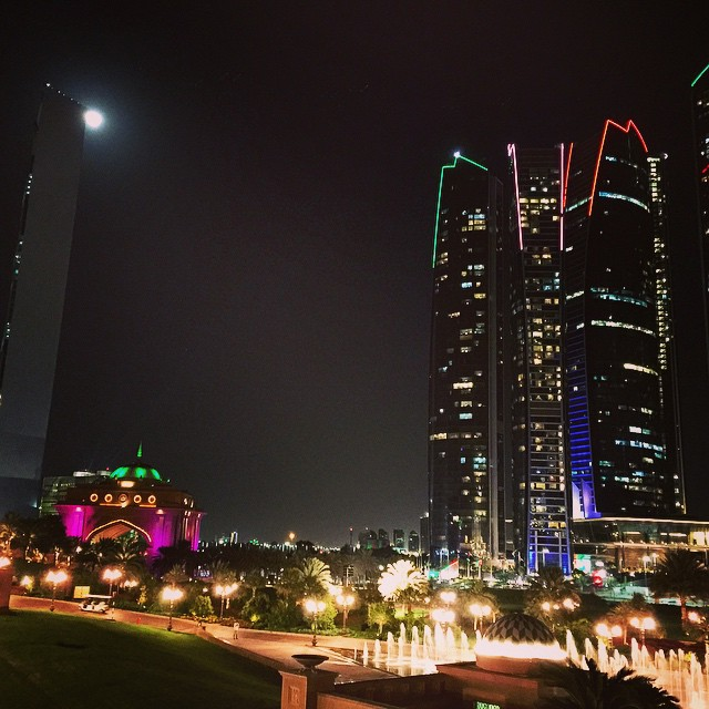 Etihad Towers (right) with moon, Abu Dhabi, UAE